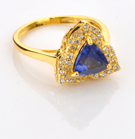 18KT SOLID GOLD TRILLION SHAPE 1.55 CARATS REAL NATURAL BLUE TANZANITE & EGL CERTIFIED DIAMOND RING