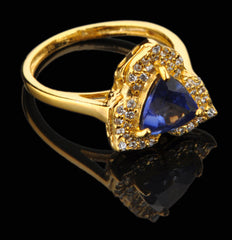 1.70 CARATS TRILLION SHAPE 14KT SOLID GOLD REAL NATURAL BLUE TANZANITE & EGL CERTIFIED DIAMOND RING