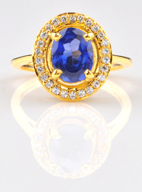 14KT SOLID GOLD 2.25 CARATS OVAL SHAPE REAL NATURAL BLUE TANZANITE & EGL CERTIFIED DIAMOND RING