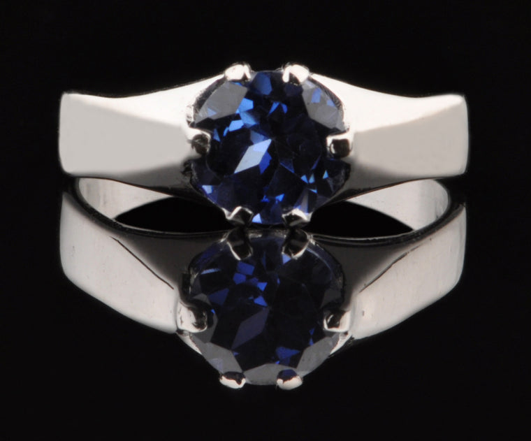 1.60 CARATS 18KT SOLID GOLD ROUND SHAPE NATURAL BLUE TANZANITE RING WITH FREE CERTIFICATE