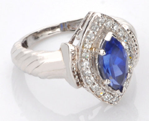 14KT SOLID GOLD 1.50 CARATS EGL CERTIFIED DIAMOND & MARQUISE SHAPE NATURAL BLUE TANZANITE RING