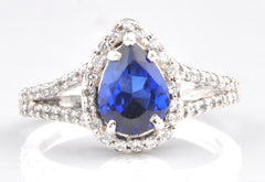 18KT  1.50 CARATS PEAR SHAPE SOLID GOLD NATURAL BLUE TANZANITE & EGL CERTIFIED DIAMOND RING