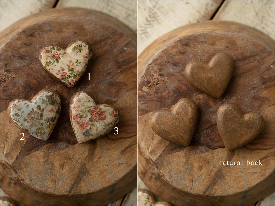 Double Sided Floral Wood Heart