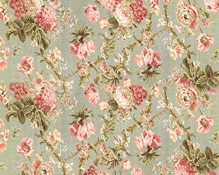 Sage Flowers Backdrop Fabric