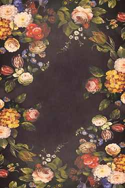 Vintage Black Flowers Backdrop Fabric