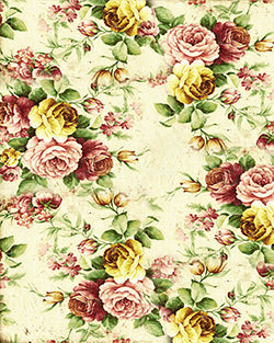 Vintage Cream Flowers Backdrop Fabric