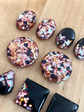 Resin Shape Studs Black Rose Gold Mix