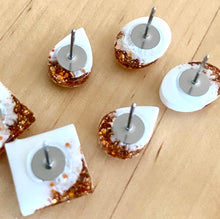 Resin Shape Studs White Copper - made to order