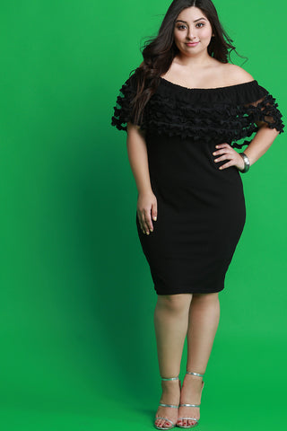Tiered Ruffled Off-The-Shoulder Bodycon Dress