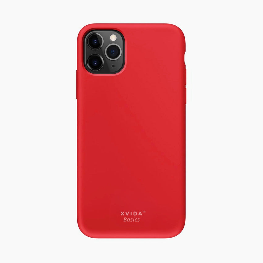Silicone Phone Case Back Cover for iPhone 11 Pro Max Red with magnetic back