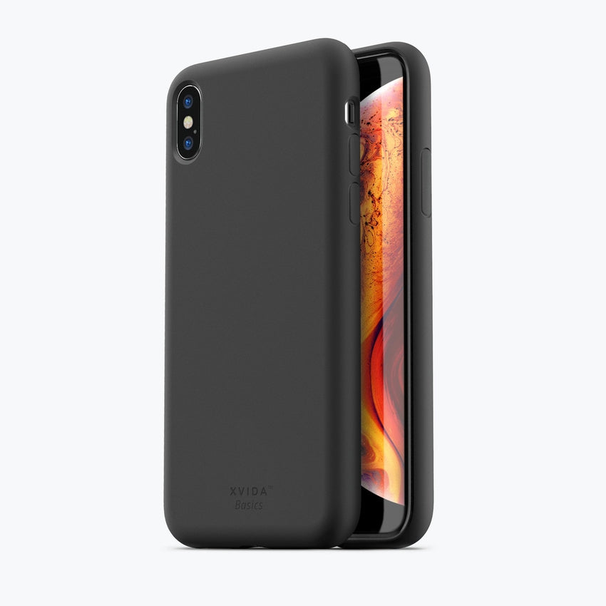 iPhone XS MAX phone case soft silicone magnetic slim compatible with wireless charging iPhone XS MAX case with magnetic back BLACK
