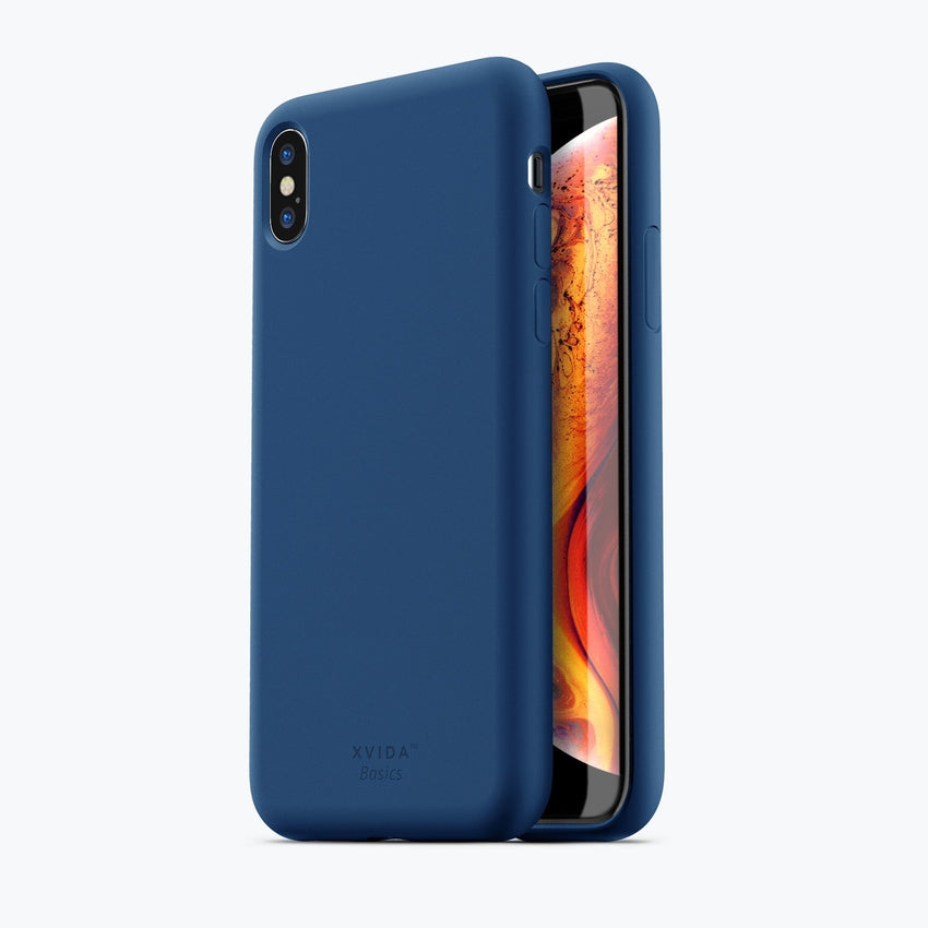 iPhone XS MAX phone case soft silicone magnetic slim compatible with wireless charging iPhone XS MAX case with magnetic back BLUE