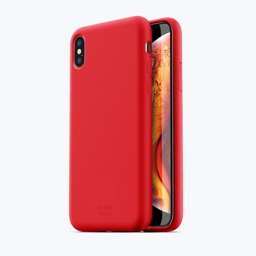 iPhone XS MAX phone case soft silicone magnetic slim compatible with wireless charging iPhone XS MAX case with magnetic back RED