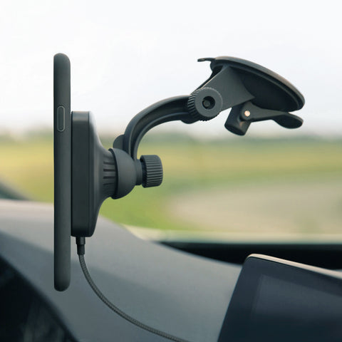 wireless car charger mount magnetic for window, dashboard installation works with iPhone, Galaxy, Note and other Qi-enabled phones