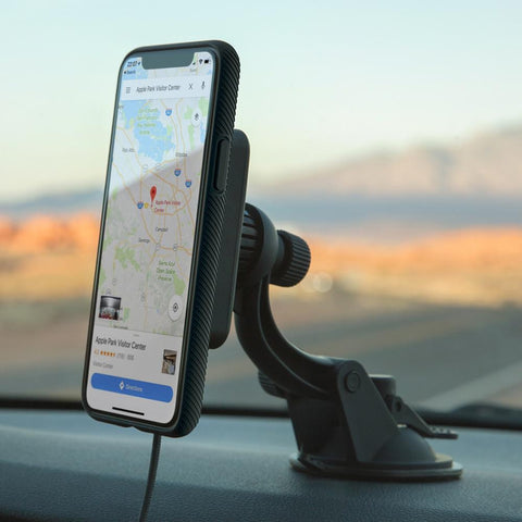 Windshield Car Mount Charger Magnetic with wireless charging compatible with Qi-enabled smartphones