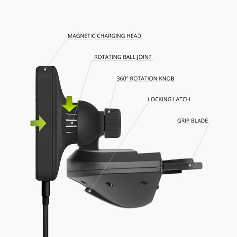Magnetic Qi Wireless Charging CD-Slot Mount for Smartphones