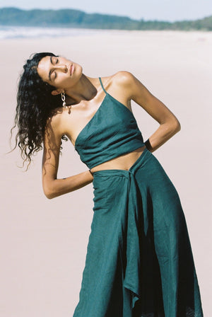 Aya One Shoulder Emerald Top