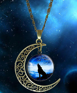 Crescent Howling Wolf Moon Necklace