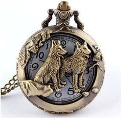 Bronze Wolf Hollow Quartz Pocket Watch