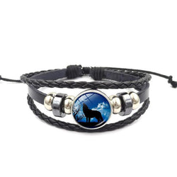 Black Leather Charm Wolf Bracelet