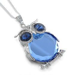 Blue Rhinestone Crystal Owl Pendant Necklace