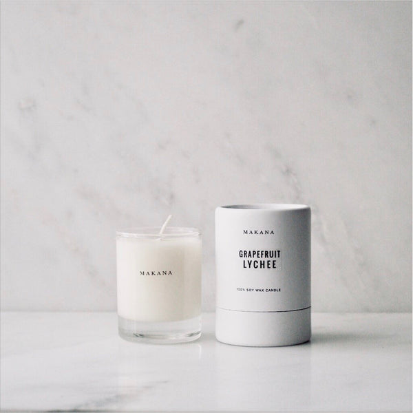 Grapefruit Lychee petite candle Makana James At Home