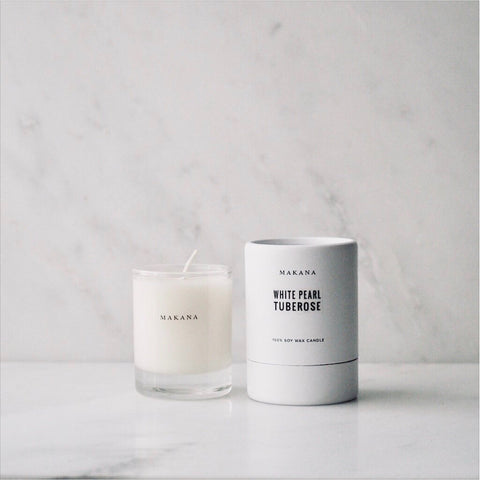 White Pearl Tuberose petite candle Makana James At Home