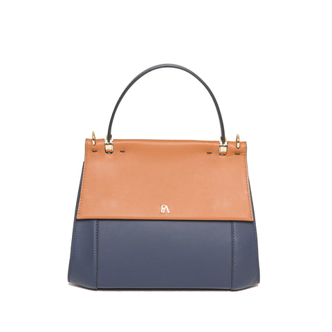 Tan & Navy Nora Top Handle