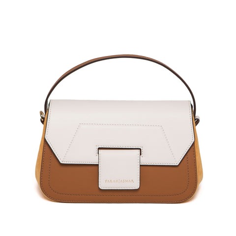 Cream and Tan Mira Shoulder Bag