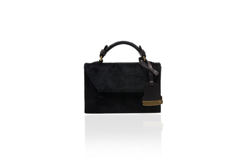 Black Velvet Mini Cynthia Top Handle