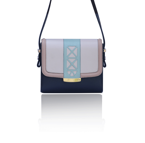 Cream & Navy Anya Cross Bag