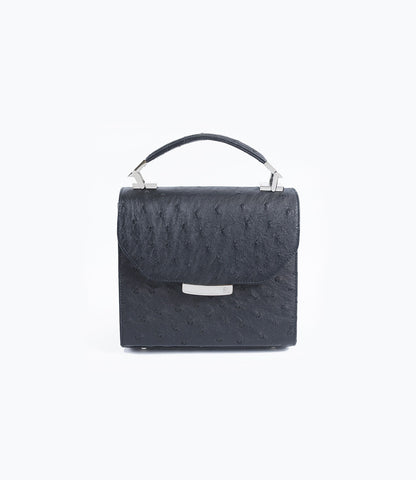 Black Ostrich Mini Steffany Tote