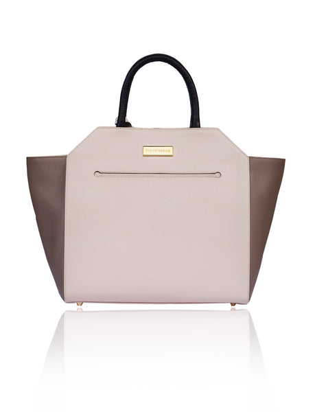 Powder Pink & Taupe Medium Sharon Tote