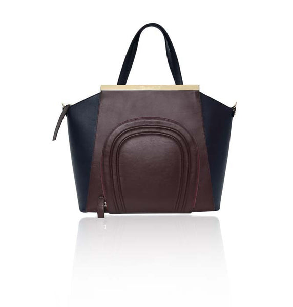 Bordeaux & Navy Sharon Tote