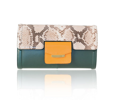 Natural & green Serena Clutch