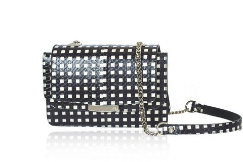 White & Black Mini Jackie O Shoulder Bag