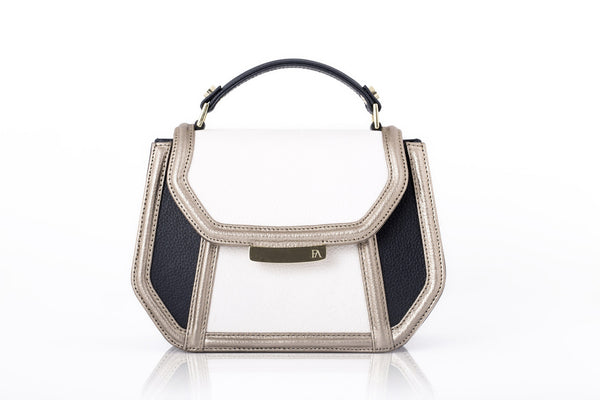 Cream & Navy Mini Anabella Tote