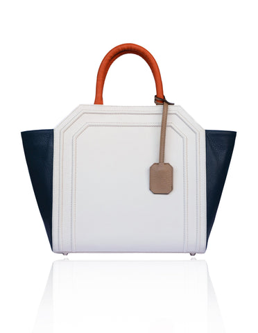 Cream & Navy Medium Sharon Tote