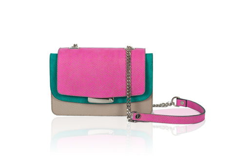 Fuchsia & Greige Mini Jackie O Shoulder Bag