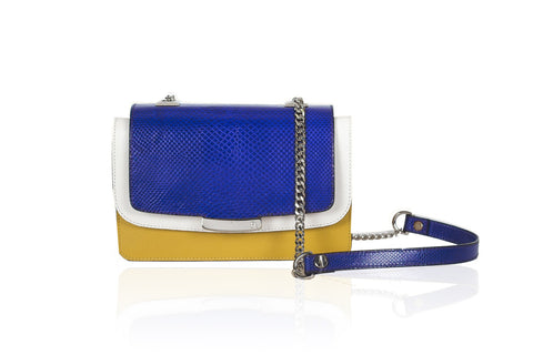 Electric Blue & Mustard Mini Jackie O Shoulder Bag