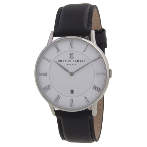 Charles Conrad Silver and Black Unisex Watch CC01000
