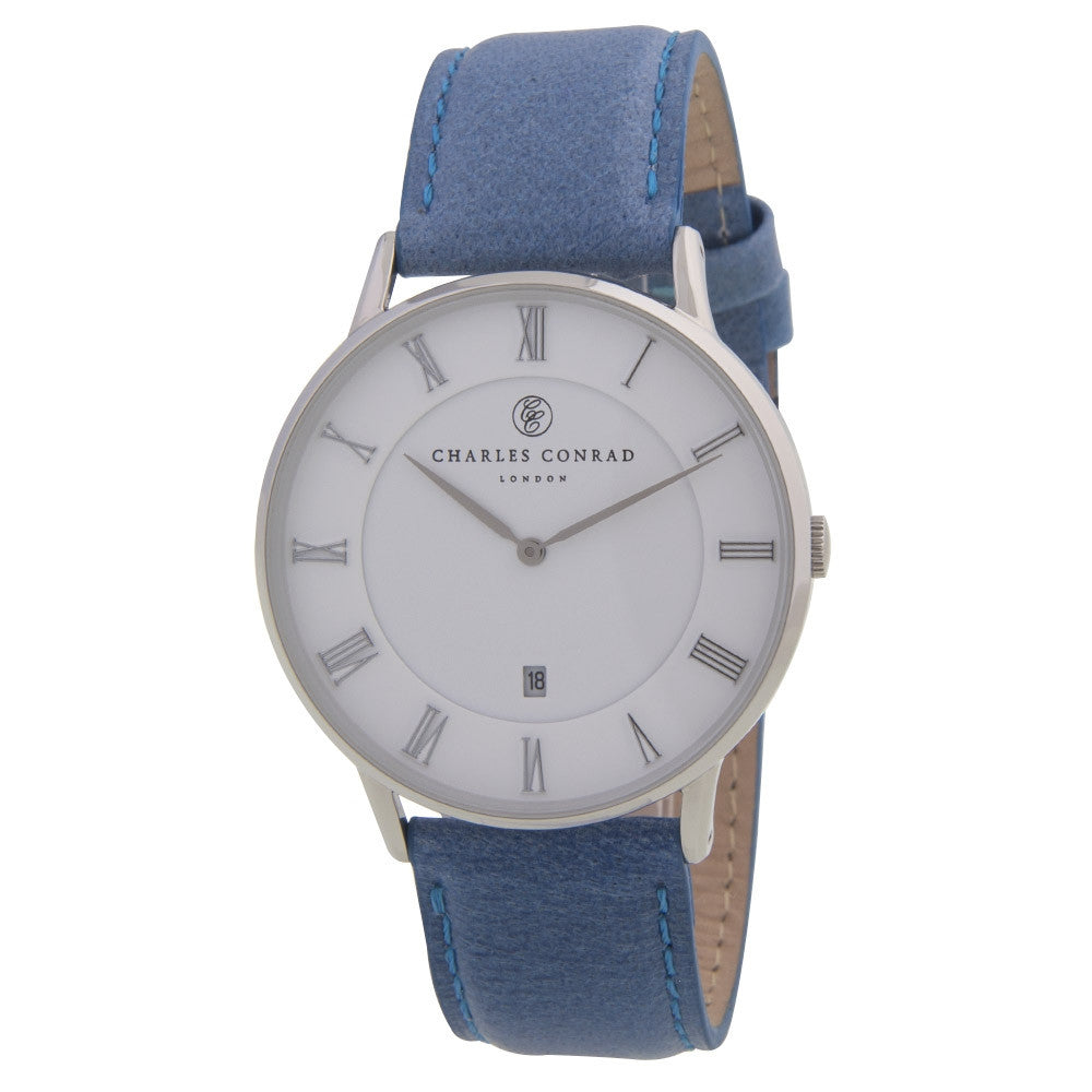 Charles Conrad Blue Leather Unisex Watch CC01001