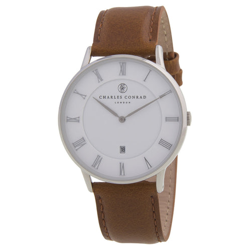 Charles Conrad Brown Leather Unisex Watch CC01002