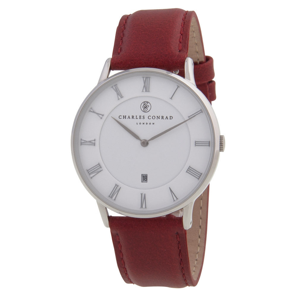Charles Conrad Red Leather Unisex Watch CC01003