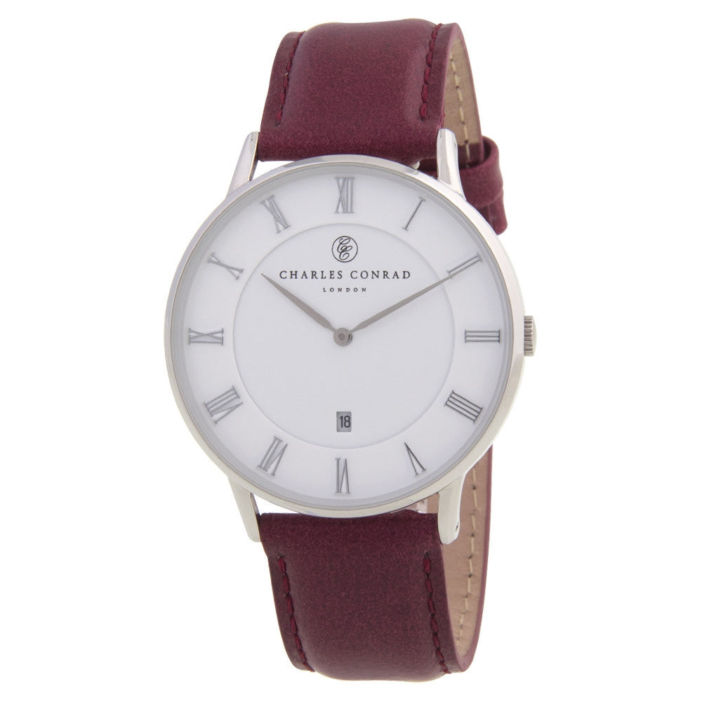 Charles Conrad Red Leather Unisex Watch CC01004