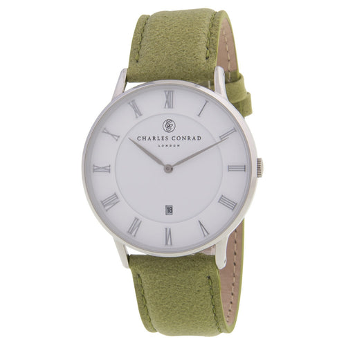 Charles Conrad Green Leather Unisex Watch CC01005