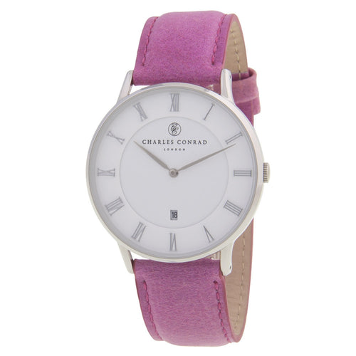 Charles Conrad Pink Leather Unisex Watch CC01006