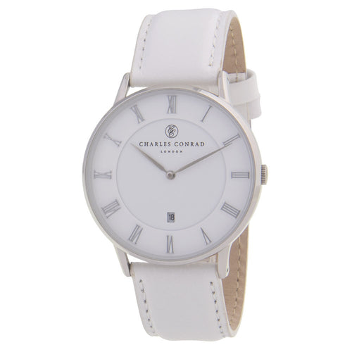 Charles Conrad White Leather Unisex Watch CC01007