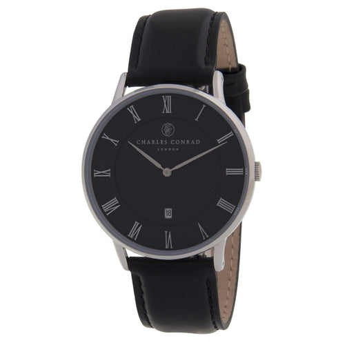 Charles Conrad Black Leather Unisex Watch CC01011