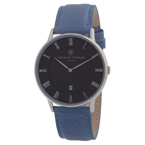 Charles Conrad Black & Blue Leather Unisex Watch CC01012